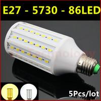 2014 Ultrabright SMD 5730 LED Lamp E27 25W 86led AC 220V-240V Warm White/White Corn Bulb Light For Christmas decoration 5pcs/lot