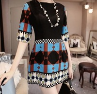 1135 2014 spring print color block decoration national trend fifth sleeve one-piece dress