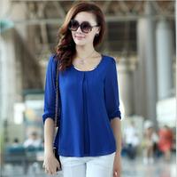 New CHIC! 2014 Shirts Plus Size Casual Long Sleeve Chiffon Blouse For Women Ladies free shipping  B-2051