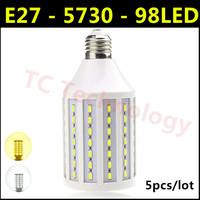 2014 Ultrabright SMD 5730 E27 LED Lamp 30W AC 220V-240V 98led Warm White/White Corn Bulb Light For Christmas decoration 5pcs/lot
