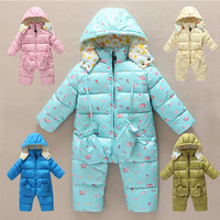 Retails (6-24M) Children Baby Infant Winter down Rompers Boy's Girl's Warm thicken Jumpsuits Down Overalls outwears for Winter