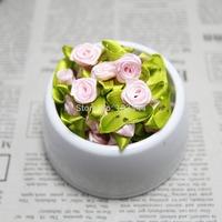 100 pcs/lot  pink  18mm*15mm Satin Ribbon Roses  Scrapbooking Sewing DIY decoration Flower