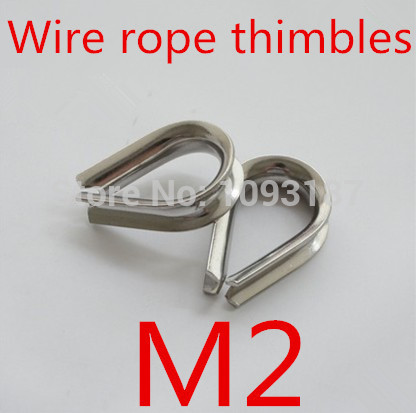 50pcs/lot M2 2mm Stainless Steel Wire Rope Cable Thimble Galvanized For WireRope Cable(China (Mainland))
