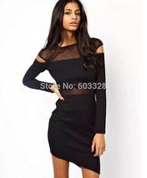 2014 Women Sexy Slim Mesh Transparent Patchwork Cropped Mini Pencil Dress Long Sleeve Black Party Night Club Dresses YT1152