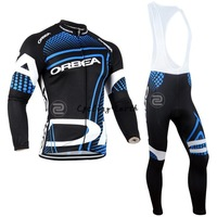 Free shipping! Orbea 2014 Winter long sleeve clothes cycling jersey+bib pants bike bicycle thermal fleeced wear set