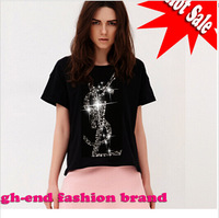 2014 New women slim t shirts top cotton T shirt women Diamond sexy party tops girl shirt Top Tee