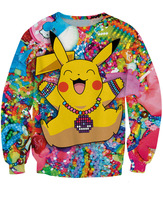 Fashion Unisex New Pikachu in Kandiland Sweatshirts Cartoon 3D Pokemon Pocket Monster CREWNECK Sweats For Women and Men