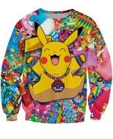 Fashion Unisex New Pikachu in Kandiland Sweatshirts Cartoon 3D Pokemon Pocket Monster CREWNECK Sweats For Women and Men