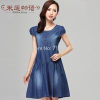 2015 Women Denim Dress Loose Short Sleeve Jeans Dress O Neck Casual Washed Elegant Evening Party Lady Dresses 5XL