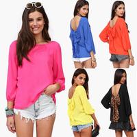 New 2015 European and American sexy women's Shirts fashion leopard chiffon halter loose shirt tops blouse plus size S-XXL