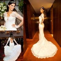 2015 Vestidos De Novia Sweetheart Long Sleeve Appliques Lace Mermaid Wedding Dresses