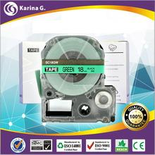 18mm black on green tape cartridge sc18gw  for KingJim  label printersSR150 1pcs free shipping
