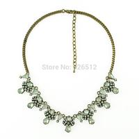 Women New Fashion Luxury Full Clear Crystal Drop Flower Statement Choker Bib Necklaces & Pendans Jewelry Wholesale 3 Pcs/Lot