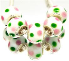 NO 74 14mm Glass Ceramics 925 silver cord Big Hole Loose Beads fit European Pandora