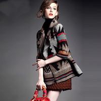 2015 new winterand spring Bohemia wool elegant blends outwear coat   vintage women's desigual coats casaco feminino inverno