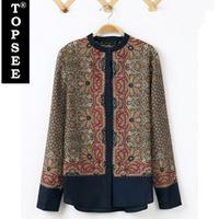 Hot Sale Women Cotton Blouse Shirt European Style Print Design LongSleeve Mandarin Collar Cotton Blouse Loose Shirt Blouse E5262