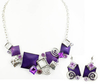 Top Quality Enamel Fashion jewelry set Women's Party gift Chain Necklace and earrings set Gifts A011