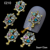 5pcs New 3d Nail Art Glitter Charm Turtle Gold Silver Alloy Metal Nail Jewelry with Shinning Rhinestones Styling Tools C209-210