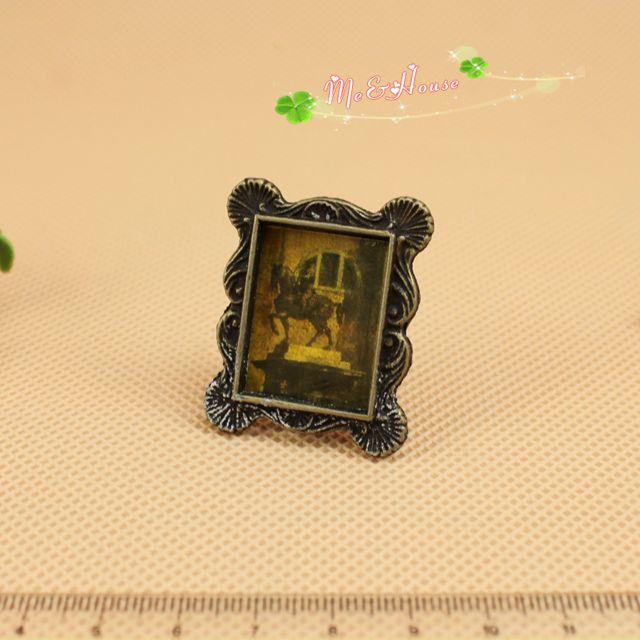 Mini dollhouse Metal Photo frame Miniature Picture frame 1/12 scale Doll House(China (Mainland))