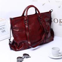 2014 motorcycle bag oil waxing women's leather handbag fashion large white collar fashion bags 3