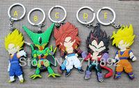 300pcs/lot Dragon Ball Z toys super saiyan Goku / Vegeta / Raditz / Cell keychains Wholesale free by DHL/Fedex