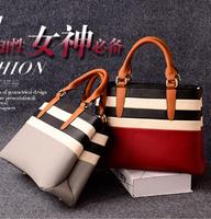 NEW 2014 Women fashion striped tote women designer shoulder bags Women Leather HandbagsWomen OL Bag