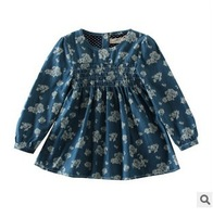 spring new 2015 fashion children girls deigner flower print long sleeve jeans blouse kids casual cute cotton tops clothes lot