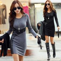 Winter Plus Size Women Plus Velvet Thicken Korean Patchwork Slim long Sleeve Package Hip Dress Free Shipping
