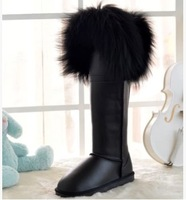 New fashion Women big fox fur boots knee high snow boots winter outdoor footwear 10 colors