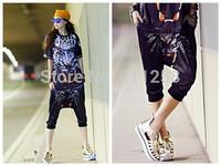 Red-teeth Leopard Printing Women Hip Hop Harem Shorts Street Dance Big-crotch Shorts Capries FS3290