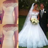 2015 Vestidos De Novia Off The Shoulder Wedding Dress Lace Trim A Line Long Bridal Gown