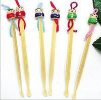 Free shipping New 5PCS/Lot ear cleaner  earwax spoon clean flashlight earpick handle wood doll