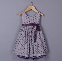 Baby Girls High Quality Summer Dot Ribbon Bow Flower Party Dress, Princess Elegant Formal Wear, 5 Pcs/lot, Free Shipping
