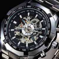 new 2014 fashion Sewor skeleton men military business clock stainless steel mechanical self wind wrist dress gold luxury watch