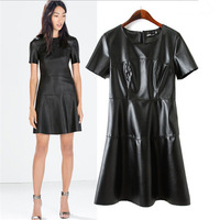 Women Brand Faux Leather Dresses Ladies'Elegant Slim Short Sleeve Black Dress Casual Vintage Spring Autumn Party Dress