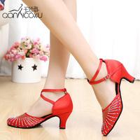 Women's Satin / Rhinestone Upper Ankle Strap Salsa / Latin Ballroom Shoe