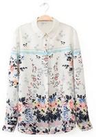 New 2014 Fashion Autumn And Winter Women Chiffon Blouses Women Flower Print Lapel Casual Chiffon Long Sleeved Shirts#QJJ384