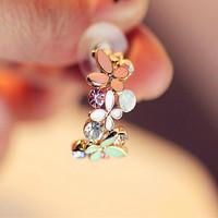 Hot Sale 1 Pair Women Fashion Vintage Elegant Jewelry Flower Butterfly Rhinestone Ear Stud Earrings