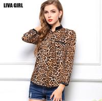 New Fashion 2014 Women Wild Leopard Print Chiffon Blouse Lady Sexy Long Sleeve Top Shirt Loose V neck Leopard Blouse  B-2059