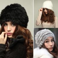 Free Shipping Fur Hat Genuine Knitted Rabbit Fur Hat Nature Rabbit fur Cap Beanie Headgear For Women Fashion Casual Wearing