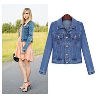 Autumn winter fashion denim jackets women jeans coat
