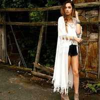 Most popular women celebrity lace tassel long cardigan fashion half sleeve desigual nastygal tassel long shawl