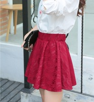 2015 spring autumn  Fashion Girls SEXY Empire waist slim skirt ball gown mini casual lace flower skirt ladies party