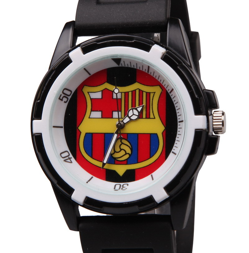 relogio masculino men's sports watches fashion silicone sport watch BARCELONA football fan souvenir stainless steel quartz watch(China (Mainland))