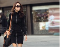 Full Sleeve Slim Hip Black Sexy Zipper Style Sweater Bottoming Tops For Autumn And Winter