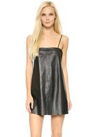 Plus Size Women's Clothing  2014 European And American  Autumn  Winter Fashion  PU Sexy Black Spaghetti Strap  Leather Dress