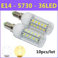 10pcs/lot Ultrabright SMD 5730 Energy Saving LED Lamp E14 10W 36LED AC 220V-240V Warm White/White Corn Bulb Christmas Lights