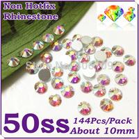 Super Shiny 144PCS SS50 (10mm) Glitter Non Hotfix Crystal White AB Color 3D Nail Art Decorations Flatback Rhinestones