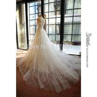 White Wedding Dresses vestido de noiva 2015 Fashion Tulle Sweetheart Court Train Wedding Dress Elegant Crystal Ball Gown