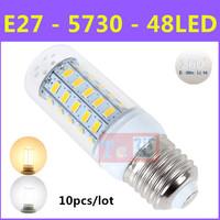 10pcs/lot Latest Ultrabright SMD 5730 Energy Saving LED Lamp E27 9W 48LED AC220V-240V Warm White/White Corn Bulb Christmas Light